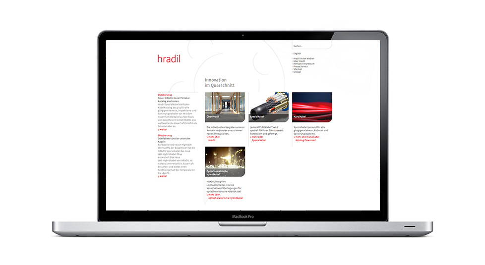 Hradil Spezialkabel, Webdesign, Screendesign, Backend-Design